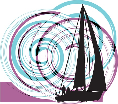 sailing vessel: Sailing vector illustration Illustration