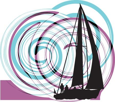 speed boat: Vela ilustraci�n vectorial Vectores