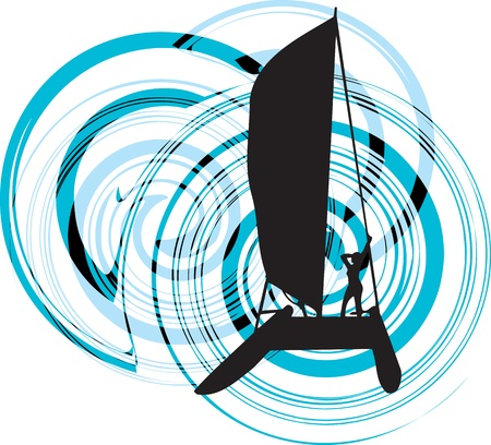 windsurf: Sailing vector illustration Illustration