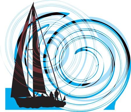 luxury yacht: Sailing luxury yacht Illustration