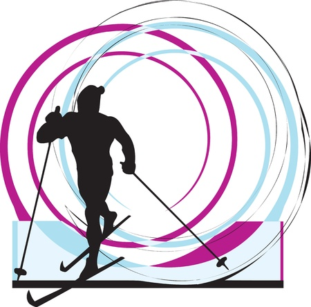 Skiing illustration Vector