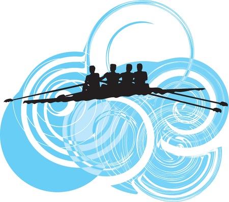 rowing: Rowing. Vector illustration Illustration