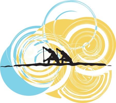 canoeing: Rowing. Vector illustration Illustration