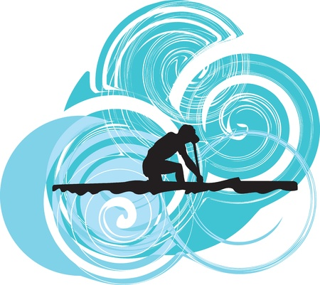 Rowing. Vector illustration Vector