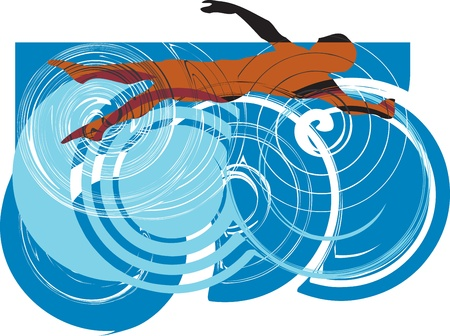 Man swimming Vector