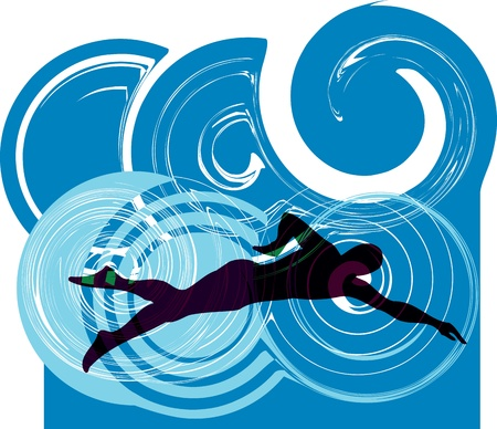 Man swimming Stock Vector - 11062497