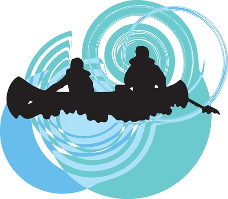 canoe: Tourists in canoe kayaking across the river