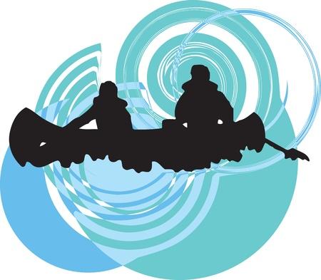 piragua: Turistas en kayak canoa por el r�o Vectores