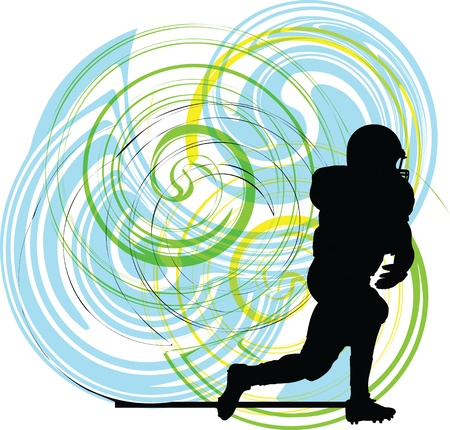 American football player in action. Vector illustration Vector