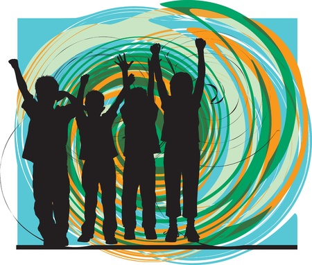 convivencia escolar: Amigos. Ilustraci�n vectorial editable