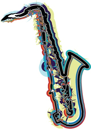 saxophone: music instrument vector illustration