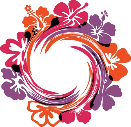 ibiscus: Astratto fiori illustrazioni