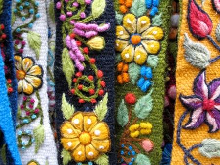 伝統: 南アメリカのインドの織物 写真素材