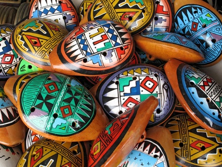 turism: Ocarina. Aboriginal musical instrument made of clay Stock Photo