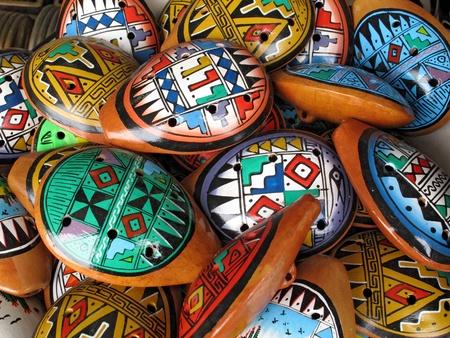 Ocarina. Aboriginal musical instrument made of clay Stockfoto