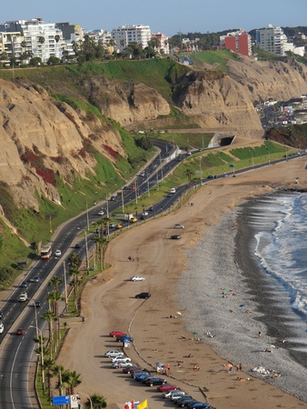 Shot of the Green Coast beach in Lima-Peru photo
