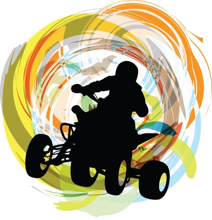 Sketch of Sportsman riding quad bike Vector