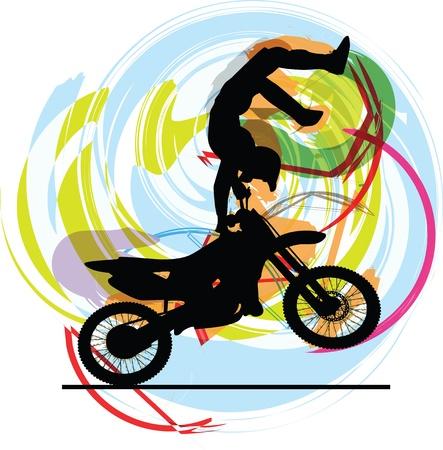 freeride: Dibujo abstracto de la ilustraci�n del motorista