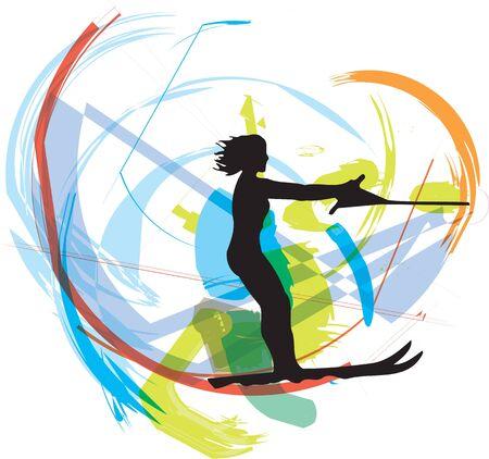 Water skiing woman illustration Vector