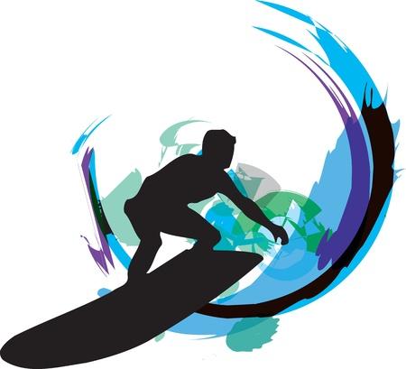 surf silhouettes: Surf illustrazione