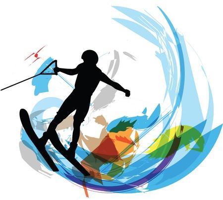 Water skiing man illustration Stock Illustratie