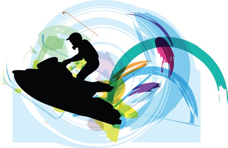 jet ski: Boceto de ilustraci�n jet