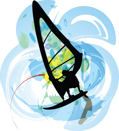 Windsurfing illustration Vector