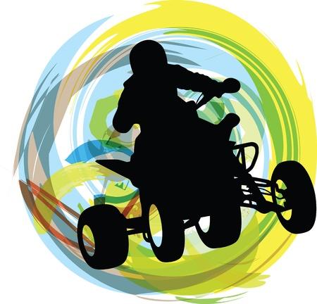 Schizzo di moto quad cavallo Sportivo Archivio Fotografico - 15194832
