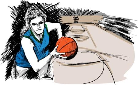 sport ecole: Croquis d'illustration joueur de basket-ball Illustration