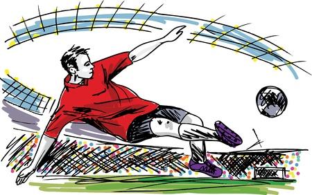 kicking ball: Jugador de f�tbol Patear Bola ilustraci�n