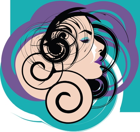 Beautiful Woman face illustration Stock Vector - 15194853