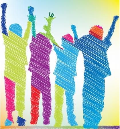 jugendliche gruppe: Sketch von kleinen Kindern Illustration Illustration