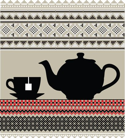 Teapot and cups illustration Vector