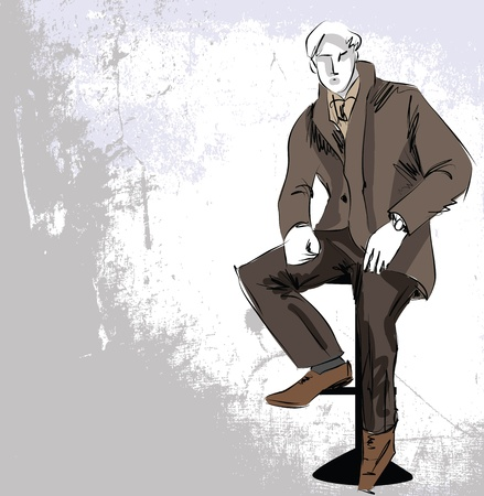 sexy male model: Sketch fashion  handsome business man