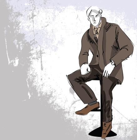 dummy: Sketch fashion  handsome business man
