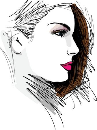 아름 다운 여자 얼굴 그림 손으로 그린 스케치 일러스트