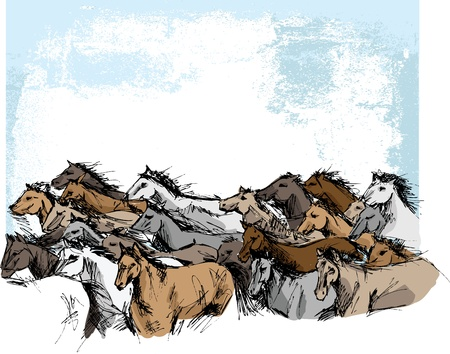 Sketch of horses running. Vector