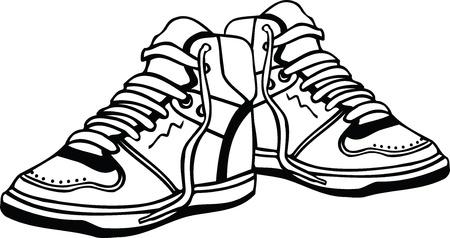 ふだん着: スポーツ シューズの図  イラスト・ベクター素材