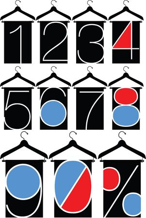 clothes with numbers, hanger illustration Stock Vector - 15689713