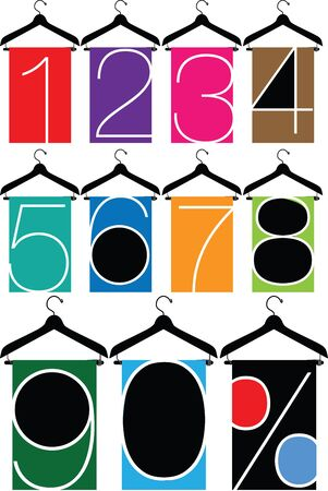 clothes with numbers, hanger illustration Vector