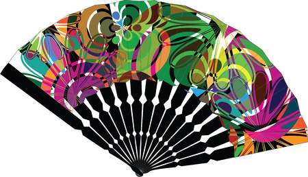 open fan: fan illustration with abstract drawing