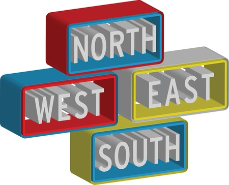 3d North East South West sign Stock Vector - 15914055