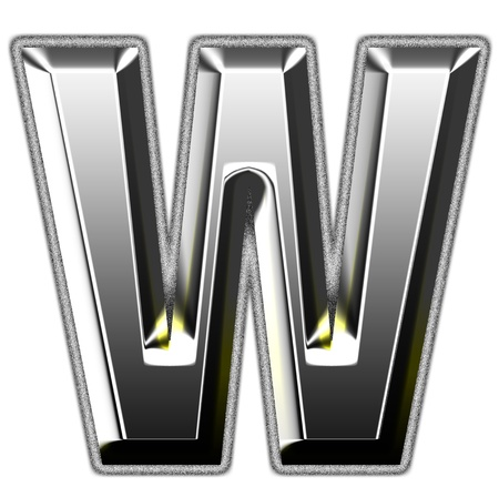 letter w: 3d silver font. Vector illustration