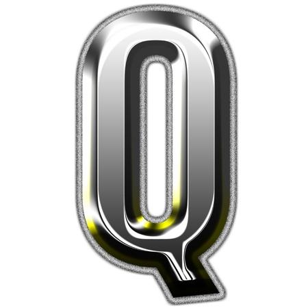 letter q: 3d silver font. Vector illustration