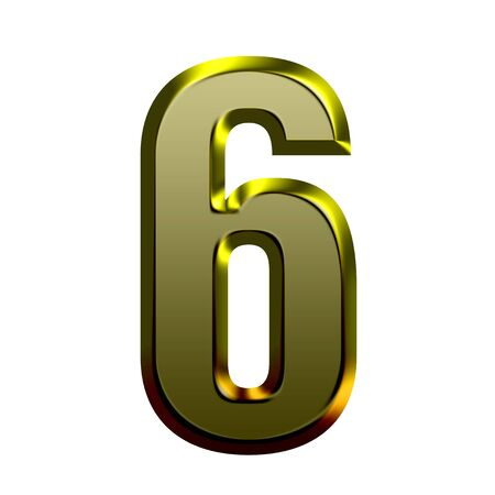 sixth: 3d Golden font illustration