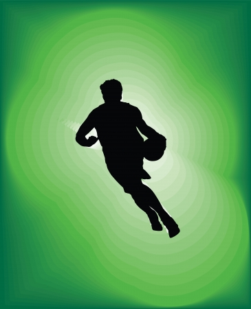dribbling: Basketball player in action. Vector illustration