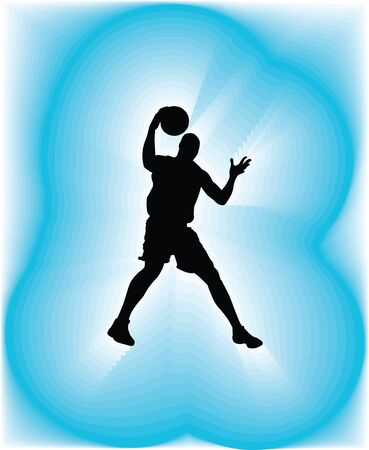 cool guy: Basketball player in action. Vector illustration