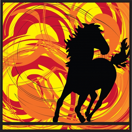 horse running: abstract horse illustration