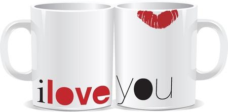 kiss lips: Te amo taza Vectores