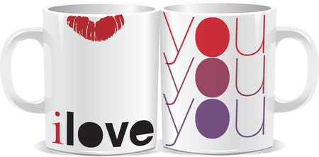I love you mug Vector